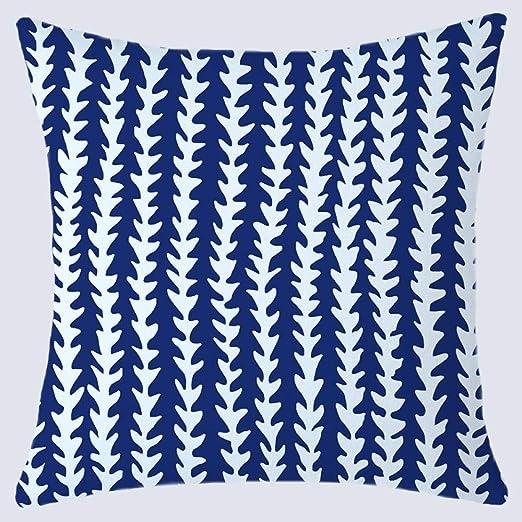 WANGLUYAO Funda de cojín geométrico Azul Simple algodón y Lino Funda de Almohada Cuadrada Almohada Lumbar Almohada recámara Cama cojín Respaldo Funda de Almohada, 45 x 45 cm, 2 Unidades: Amazon.es: Hogar