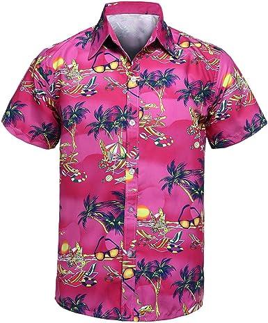 Camisa Hawaiana para Hombre, Manga Corta, de con Estilos para Verano Funky Camisa Hawaiana Señores Playa (Rosa Caliente) (l3): Amazon.es: Ropa y accesorios