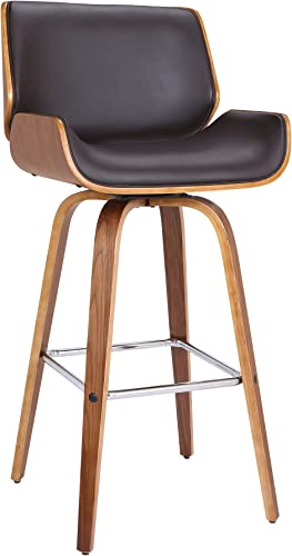 Armen Living Tyler 26 Mid-Century Swivel Counter Height Barstool, Brown