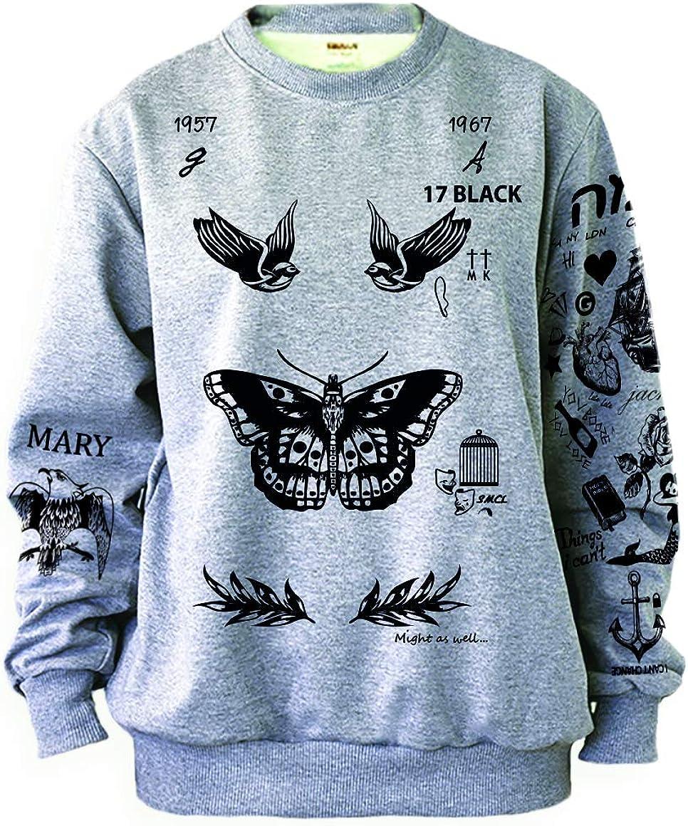 Noonew Women's Butterfly Tattoos Sweatshirt Grey