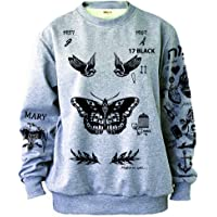 Noonew Women's Butterfly Tattoos Sweatshirt Grey