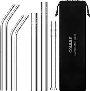 """Stainless Steel Straws FDA Approval, GOMMLE Reusable Metal Drinking Straws, 10.5"""" / 8.5"""" Length 0.24"""" Diameter, for Smoothie, Milkshake and Cocktail with 2 Clean Brushes and Carry Pouch (8 pcs)"""