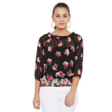 825dbf20d789 AASK Women's Black and Multicolor Floral Printed Georgette Top ...