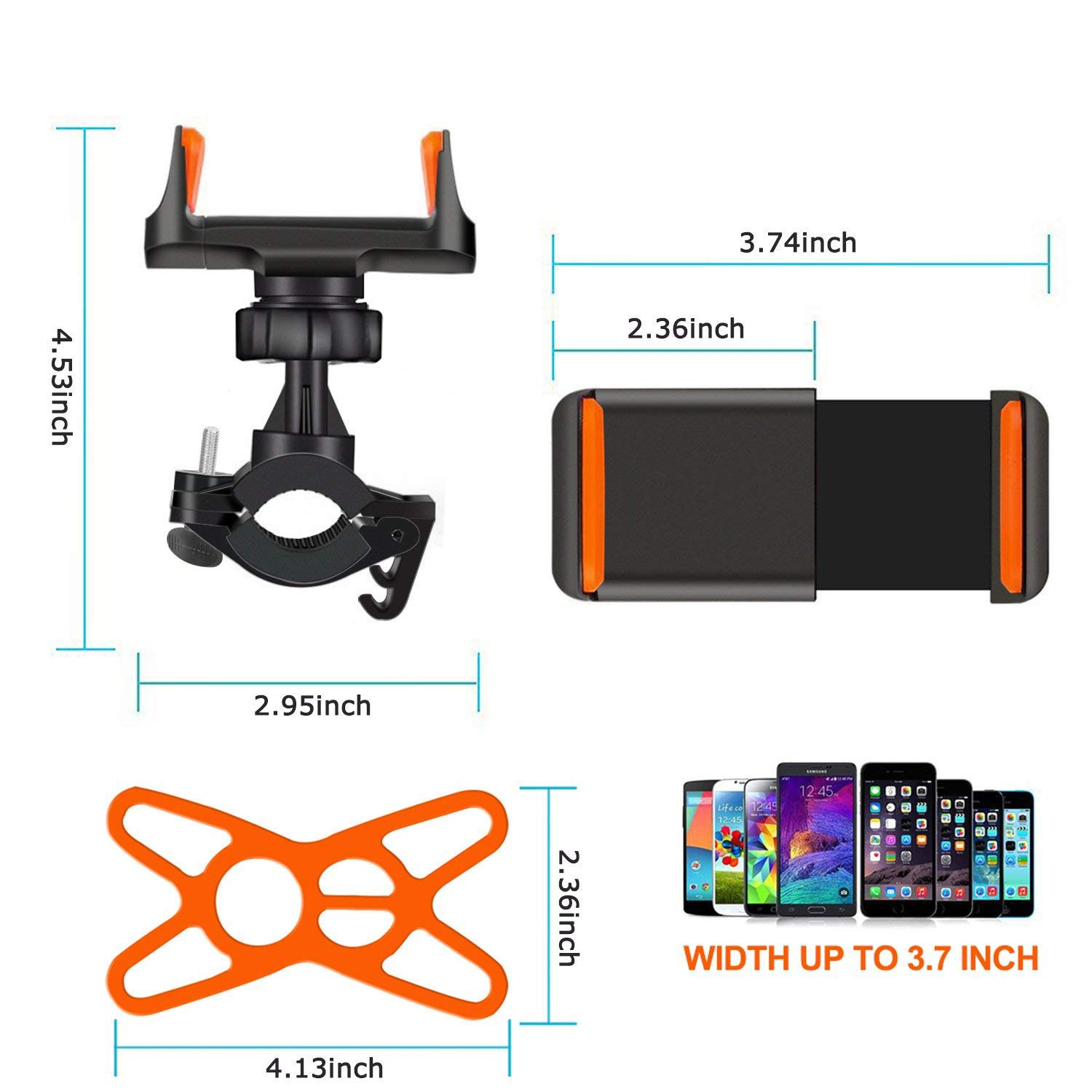 JDIBEST Bike Phone Mount/Mountain Bike Mount, Bicycle Holder, Universal Phone Bicycle Rack Handlebar/Motorcycle Holder Cradle for iPhone, Android Phone, Boating GPS, 360 Degrees Rotatable, Holds Phon