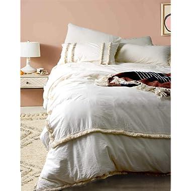 Flber Fringed Duvet Cover Tufted Boho Bedding Queen Size, 86in x90in