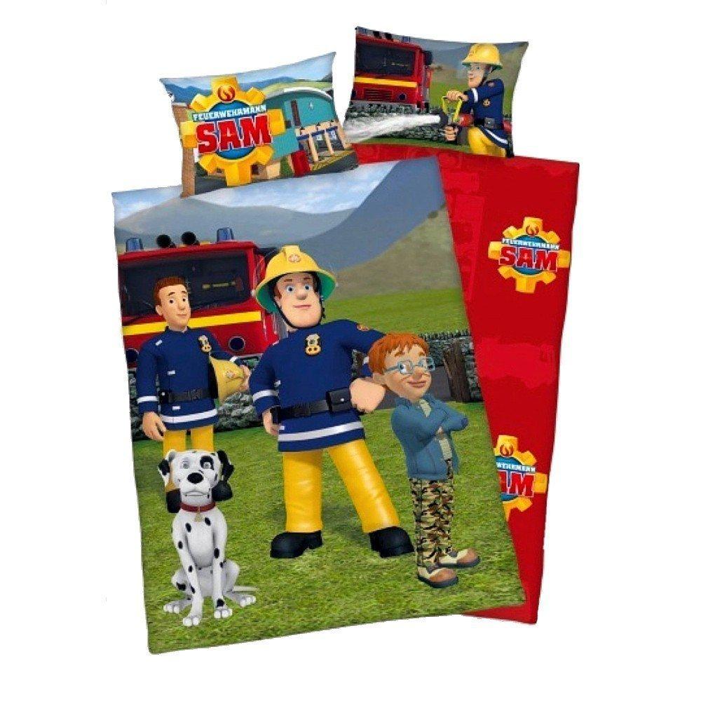 3 pièces Baby Parure de lit réversible Motif: Pompier Sam - Renforcé - 100 x 135 cm + 40 x 60 cm + 1 Drap Housse en blanc 70 x 140 cm Herding/Müskaan