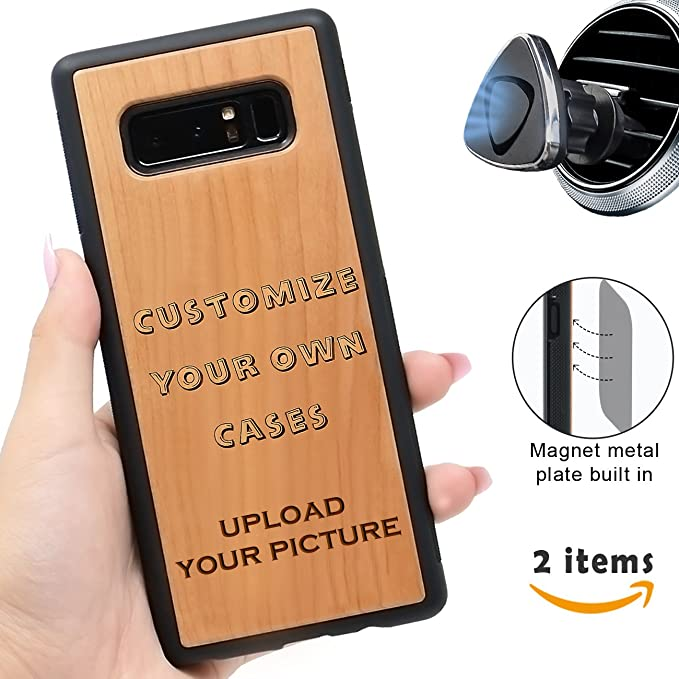 hot sale online ed8d5 dae5d Make Your Own Case Compatible with Samsung Galaxy Note 8 and Magnetic  Mount-iProductsUS Personalized Wooden Cases Engrave Your Picture and Words,  ...