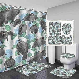 Fashion_Man 4PCS/Set Cute Rabbit Ridding Manatees Shower Curtain, Green Leaves Floral Kids Bathroom Decor, Waterproof Polyester Fabric Bath Curtain, Non-Slip Bathroom Mat Bath Mat Toilet Rug, Style 4