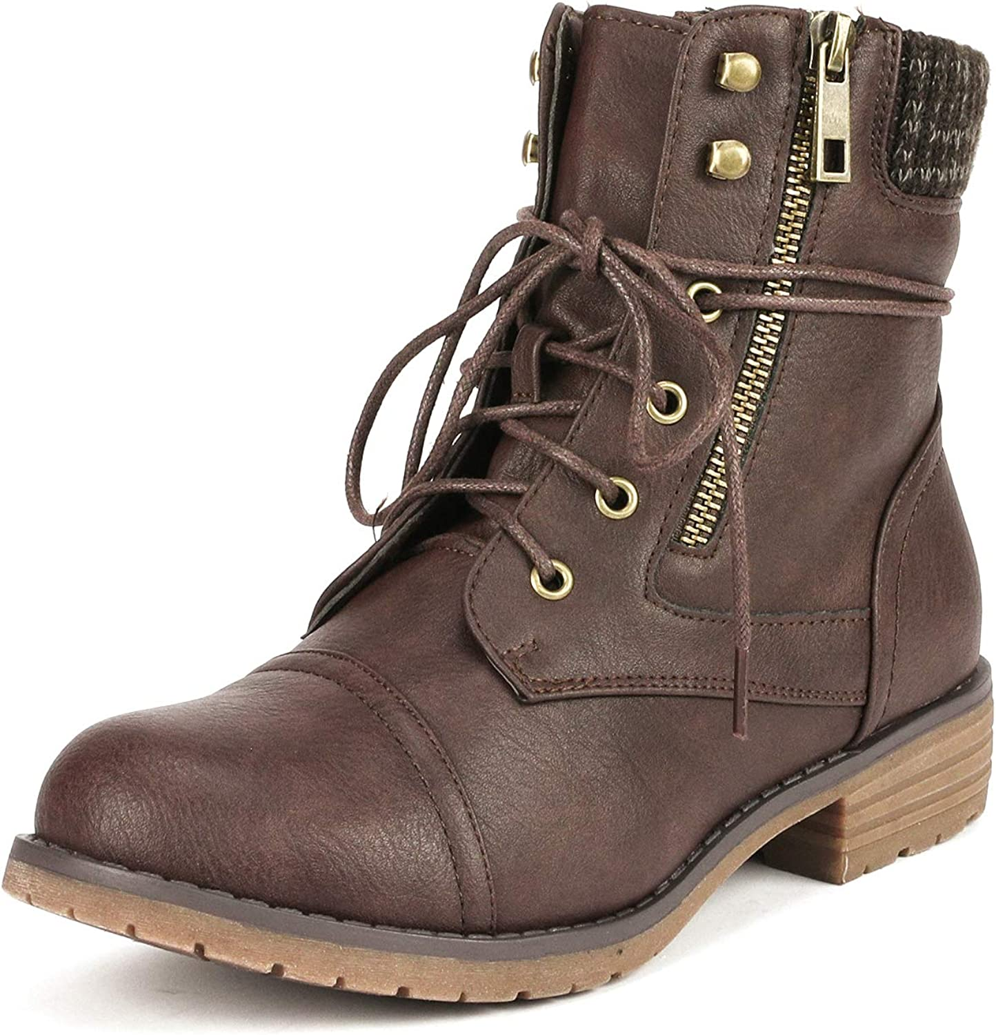DREAM PAIRS Womens Lace Up Combat Boots Low Heel Round Toe Ankle Boots Shoes