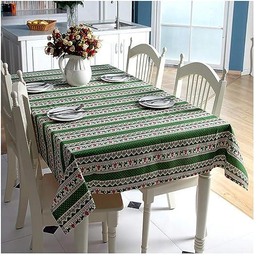 ZHAOXIANGXIANGMantel De Navidad Algodón Ropa De Imitación Árbol De Navidad Ciervo Rojo Snowflake Impreso Café Mantel Mantel,140X250Cm.: Amazon.es: Hogar