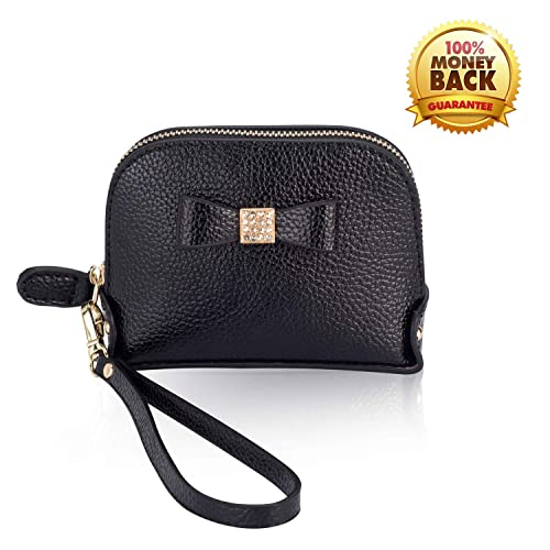 ab31537f429 Coin Purse Wallet leather Wristlet Handbags with Wrist Strap Cute Mini  Designer Pouch Great Gifts for Women Girls