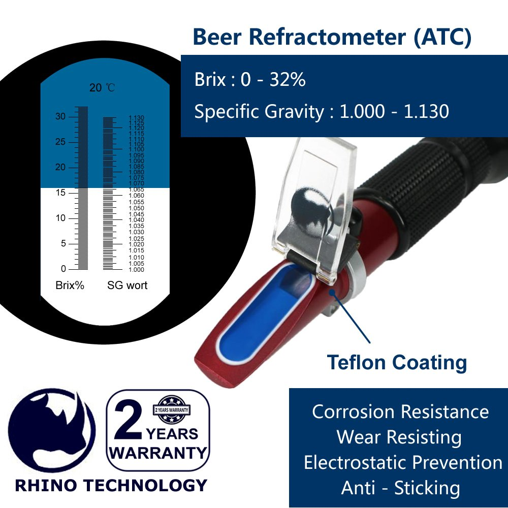 Beer (0-32% Brix & 1.000-1.130 Specific Gravity) Refractometer with ATC, Rhino Handheld Refractometer Give a Portable Holster, Teflon Coating | Fruit Juice Wine Test by RHINO TECHNOLOGY