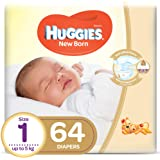 HUGGIES New Born Diapers, Size 1,Value Pack, upto 5 kg, 64 Diapers