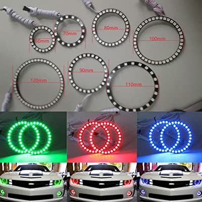 Qiuko 4pcs 110mm RGB Halo Rings Headlight Car Angel Eyes Motorcycle With 24 Keys Controller: Automotive