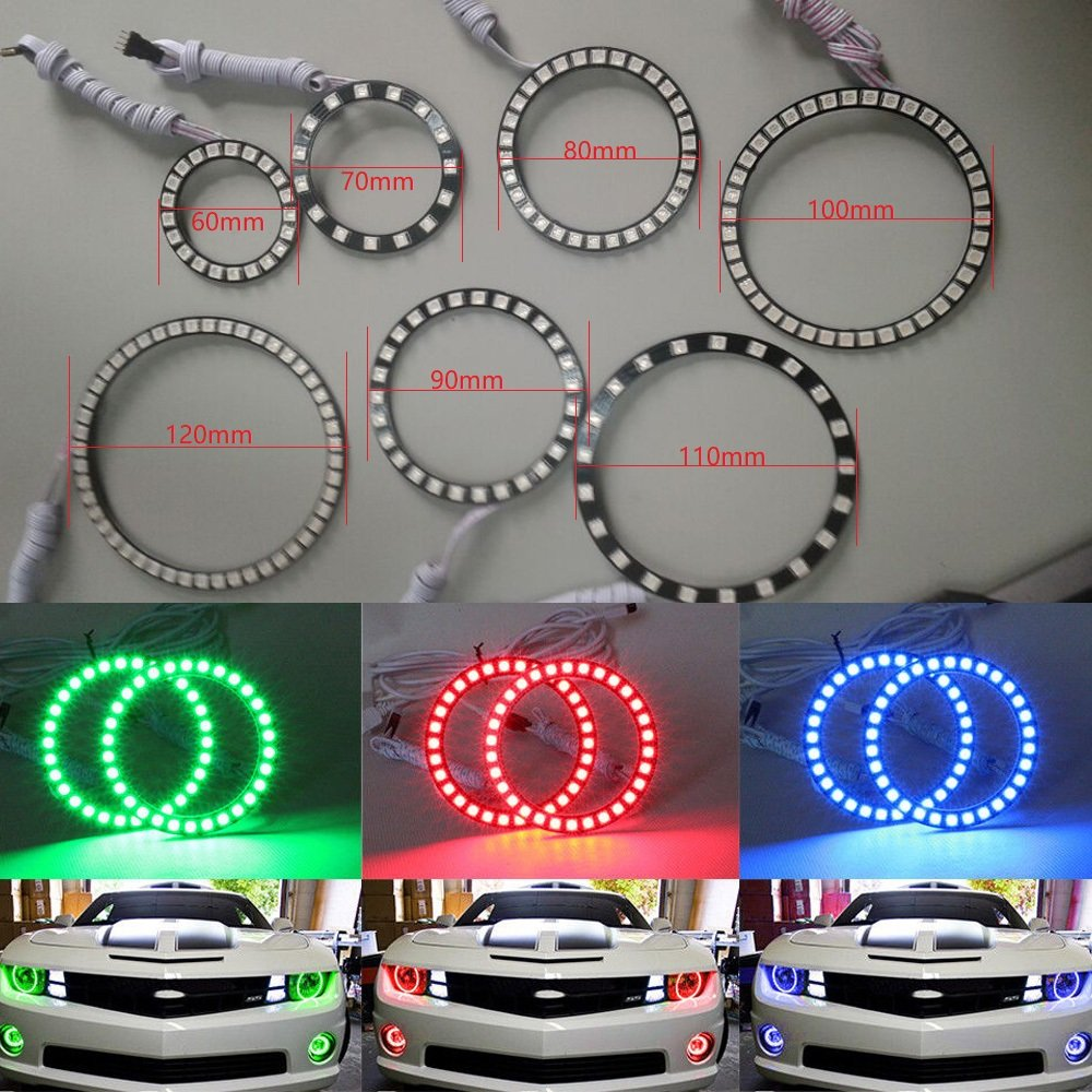 KokoNi 4pcs 70mm RGB 5050 Multi-color COB LED Angel Eyes Halo Ring Headlight & Fog Housing Lamp With Remote Controller