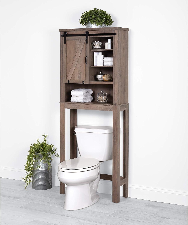 Zenna Home Barn Door Over-The-Toilet Bathroom Spacesaver, Distressed Gray