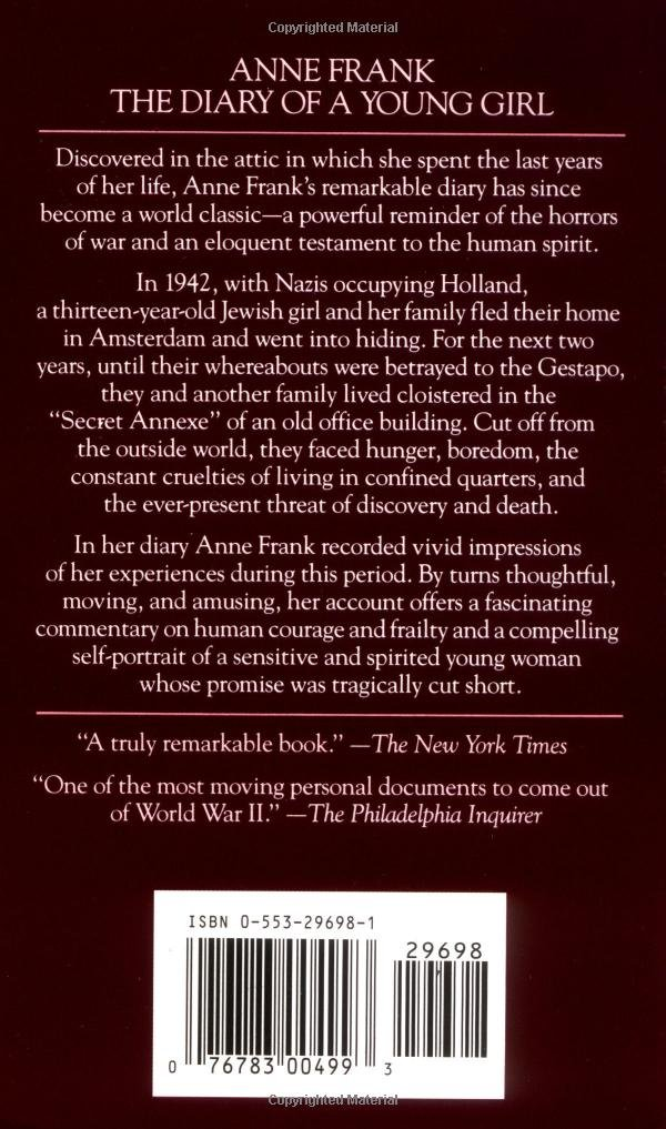 anne frank book report Anne's diary, the observations of an imaginative, friendly, sometimes petty, and rather normal teenage girl, comes to an abrupt and silent end otto frank is the family's sole survivor, and he.