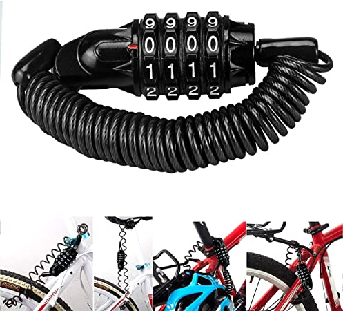 Magiin Mini Candado de Bicicleta Portátil Bloqueo de Cable de Bicicleta Antirrobo Reiniciable 4 Dígitos para Cerraduras de Equipaje de Viaje Bloqueo ...