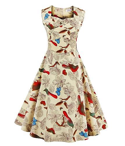 Wicky LS Donne Vintage 1950s Rockabilly Swing Floreale Senza Maniche Vestito