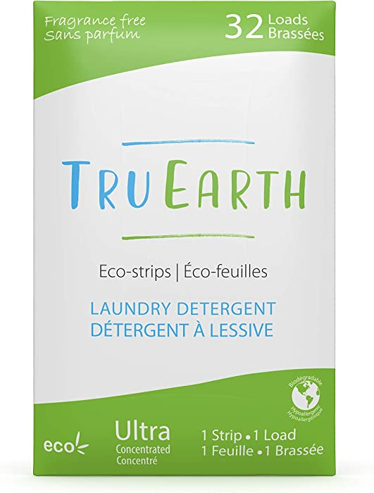 Tru Earth Eco-Strips Laundry Detergent (Fragrance-Free, 32 Loads) - Eco-friendly Hypoallergenic & Biodegradable Plastic-Free Laundry Detergent Sheets