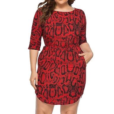 🎈Women\'s Snake Print Dress, Ladies A-Line Bodycon Plus Size Dress ...