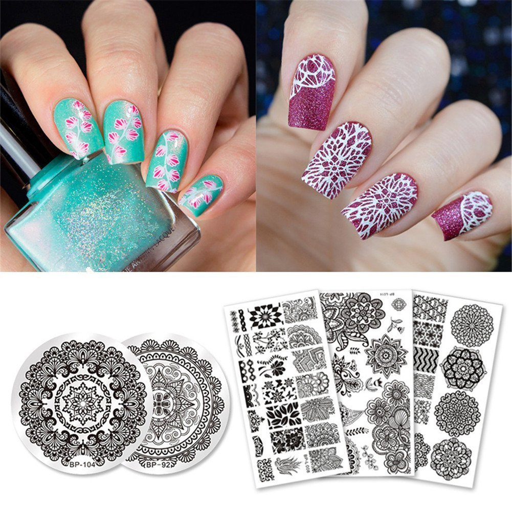 BORN PRETTY 5Pc Stamping Plate Mandala Series Round Rectangle Nail Art Template Image Plate