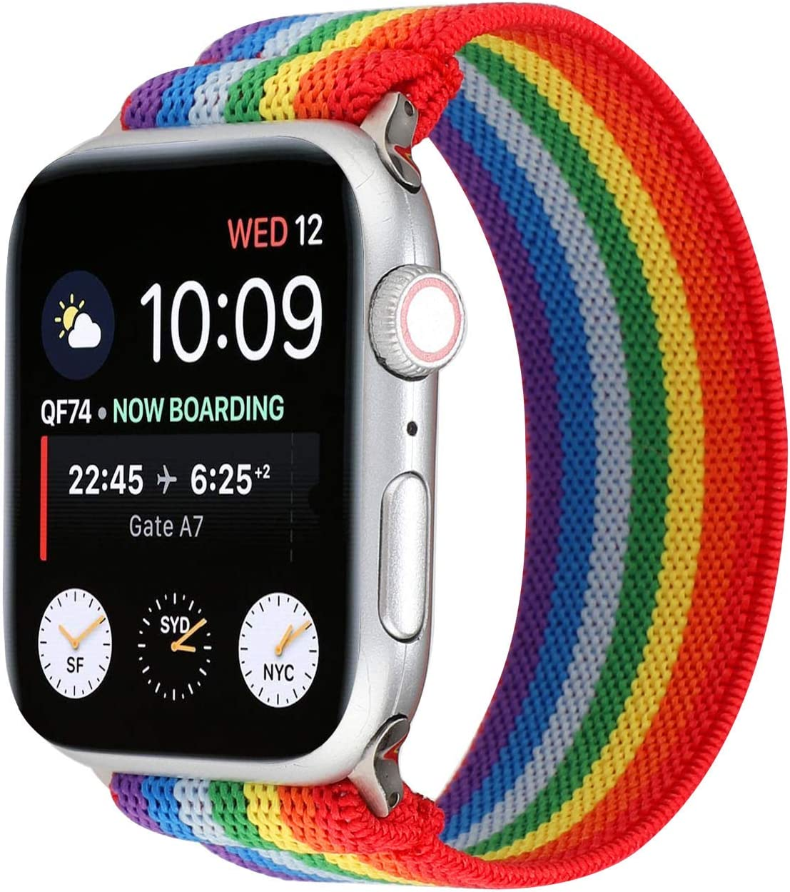 OnederHome Stretchy Sport Loop Strap Compatible for Apple Watch Band 38mm 40mm 42mm 44mm iWatch Series 6/SE/5/4/3/2/1 Stretch Elastics Wristbelt (Rainbow, 42/44mm for Normal/Large Wrist)