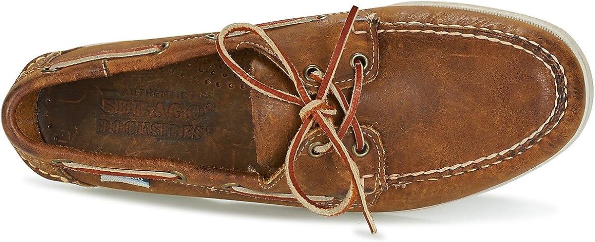 Sebago Docksides Portland Suede, Náuticos Para Hombre Brown Cognac Leather