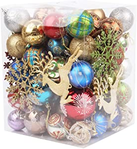 MISBEST Christmas Balls Ornaments 60-70Pack for Xmas Christmas Tree Theme Assorted Shatterproof Christmas Ball Ornament Set Decorations Festive Party Pendant Decoration (Colorful Ornaments)