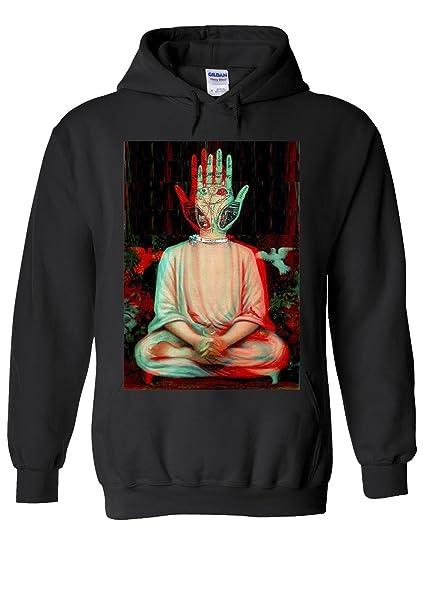 25092c654 Traditional Buddha Trippy Yoga Hand Novelty Black Men Women Unisex Hooded  Sweatshirt Hoodie