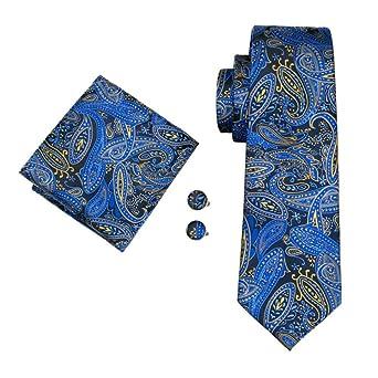 RXBGPZLD Moda Hombre Corbata 100% Azul Pañuelo De Seda De Paisley ...