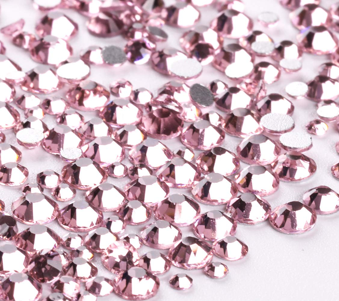 Jollin 3456pcs Flatback Rhinestones Glass Charms Diamantes Gems Stones for Nail Art 6 Size ss4~ss12 Pink by Jollin