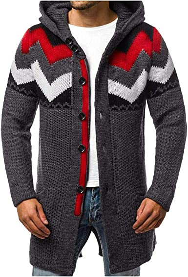Men/'s Winter Hoodie Pullover Thick Warm Sweaters Patchwork Hooded Coat Sport Top