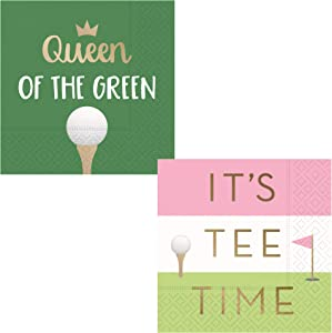 Funny Ladies Golf Themed Cocktail Napkins for Women Fun Ladies Variety Pack - Bundle Includes 32 Total Paper Beverage Napkins in 2 Designs