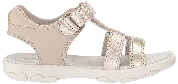 Geox SP Geox J9290B 0QDBC C0871 Cuore Mädchen Sandale aus Lederimitat Klettverschluss, Groesse 34, beigeGold