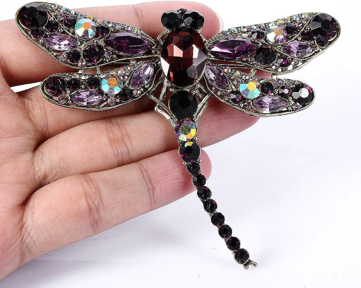 Ever Faith Femme Cristal Autrichien Mignon Libellule Insecte Pendentif Broche