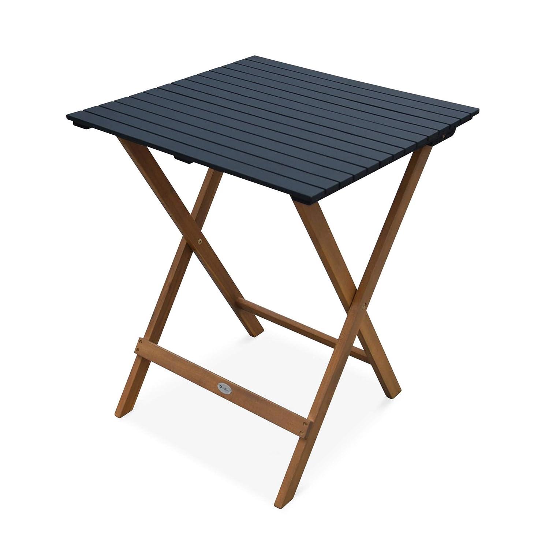 Pliante Bicolore carrée en Acacia avec 2 chaises Pliables Alice\'s ...