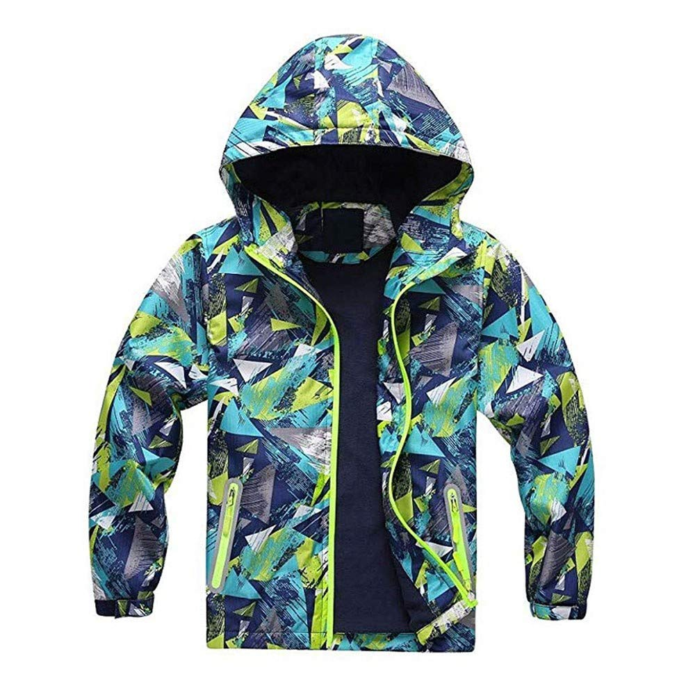 Vicbovo Little Toddler Boys Girls Waterproof Jacket Geometric Print Fleece Lined Outdoor Coat with Hood Windbreaker Outerwear