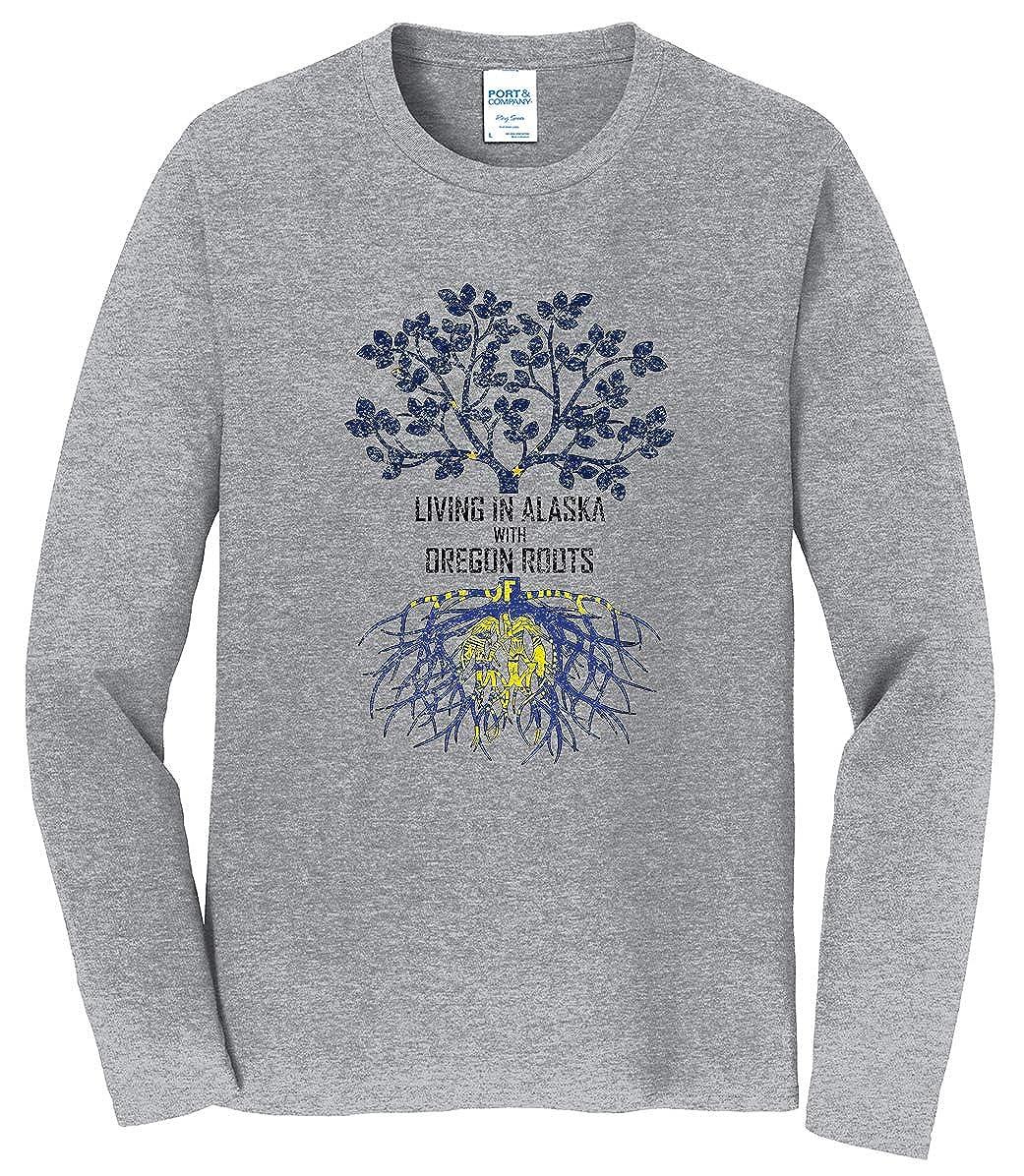 Tenacitee Mens Living in Alaska Oregon Roots T-Shirt