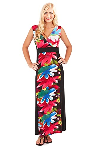 Alluring floreale Dress Up Maxi & con tracolla, con scollo a V, incrociato, Vacanza, colore: nero/rosa