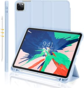 iMieet New iPad Pro 11 Case 2020 with Pencil Holder [Support iPad 2nd Pencil Charging/Pair],Trifold Stand Smart Case with Soft TPU Back,Auto Wake/Sleep (Sky Blue)
