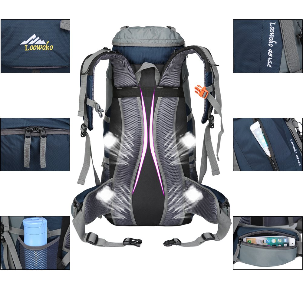 Loowoko Hiking Backpack 50L Travel Camping Backpack with Rain Cover for Outdoor Traveling (Dark Blue) by Loowoko (Image #4)