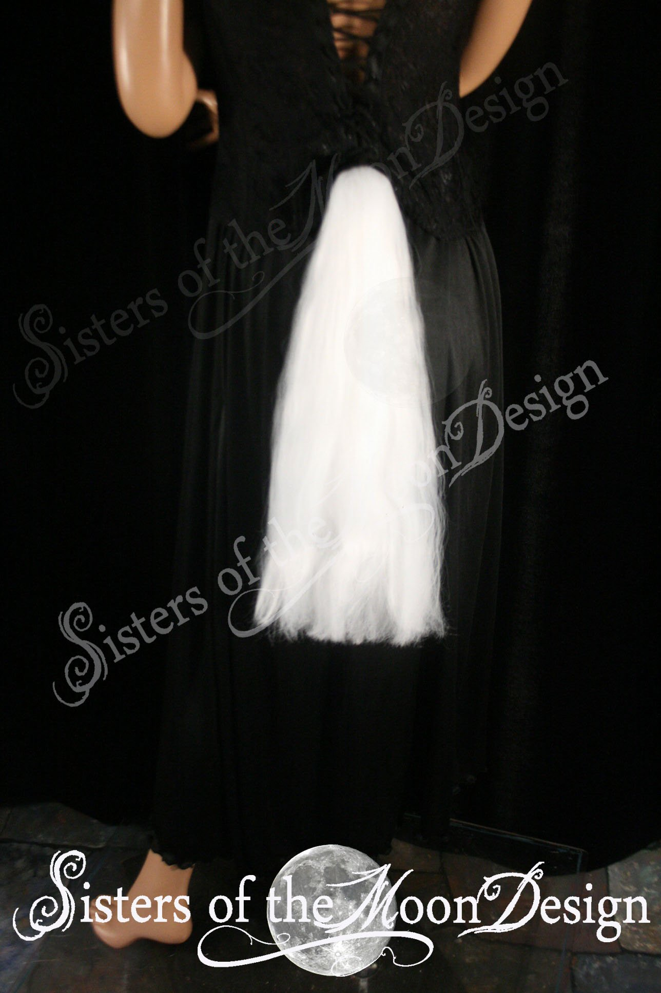 Hand made white pony tail tie on design MLP belt costume