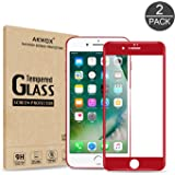 (Pack of 2) iPhone 7 Screen Protector, Akwox Full Cover iPhone 7 Tempered Glass Screen Protector with ABS Curved Edge Frame, Anti-Fingerprint HD Screen Protector Film for Apple iPhone 7 (Red)