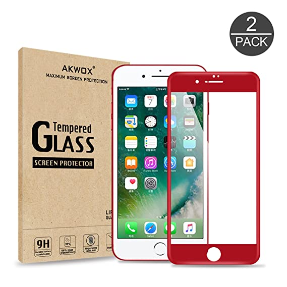 new arrival d4cec 184f5 (Pack of 2) iPhone 7 Plus Screen Protector, Akwox Full Cover iPhone 7 Plus  Tempered Glass Screen Protector with ABS Curved Edge Frame, ...
