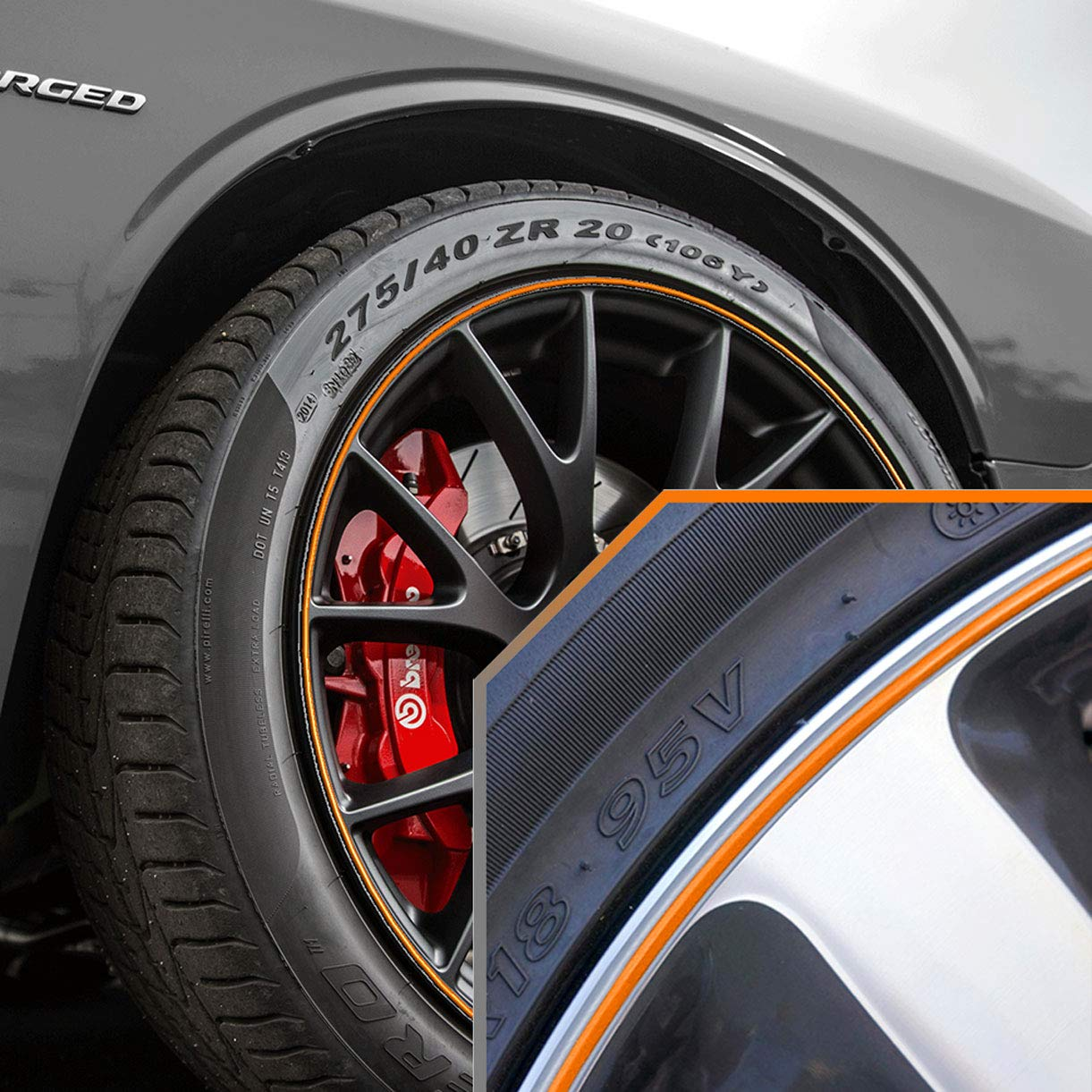 Upgrade Your Auto Wheel Bands Orange in Silver Pinstripe Rim Trim for Dodge Challenger (Full Kit) by Upgrade Your Auto