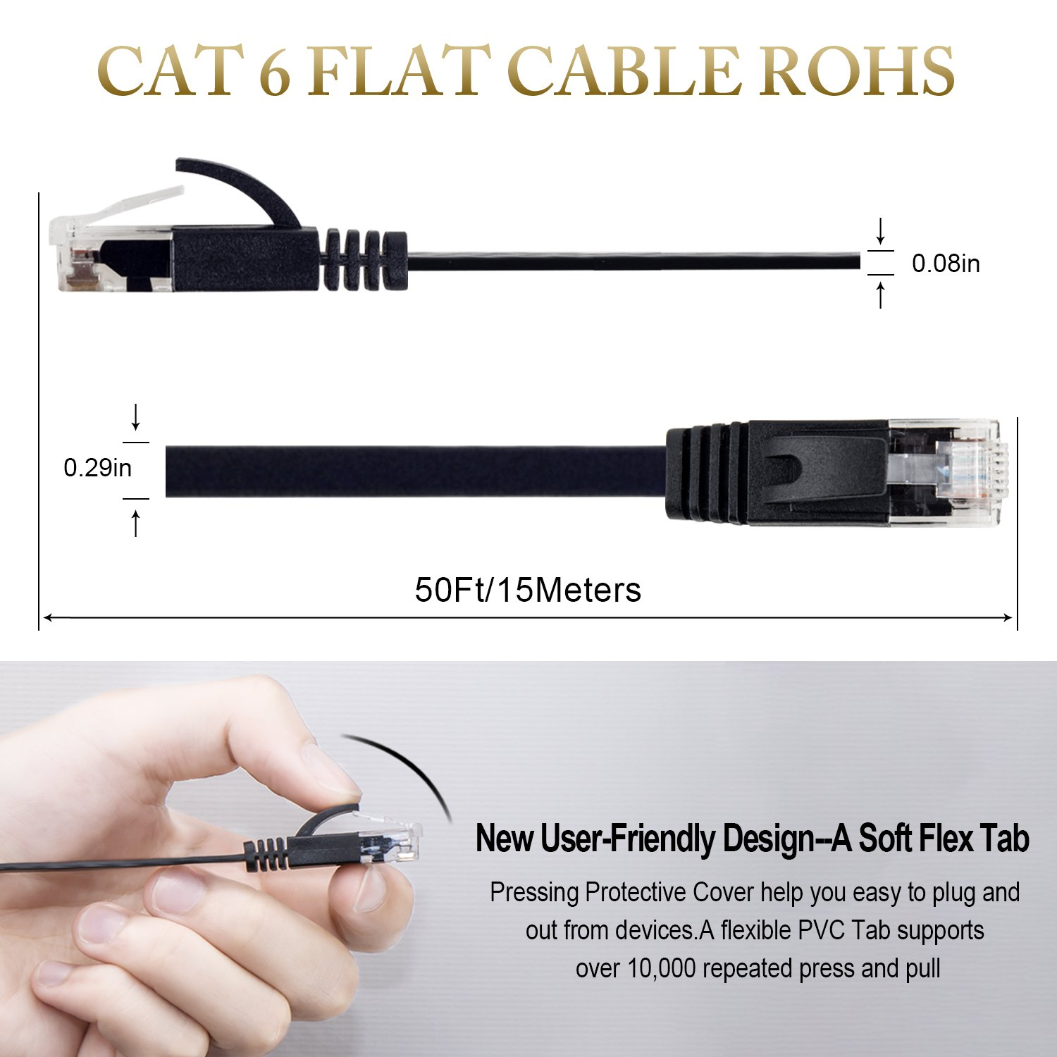 Cat 6 Ethernet Cable 50 ft, Flat Wire Rj45 High Speed Internet ...