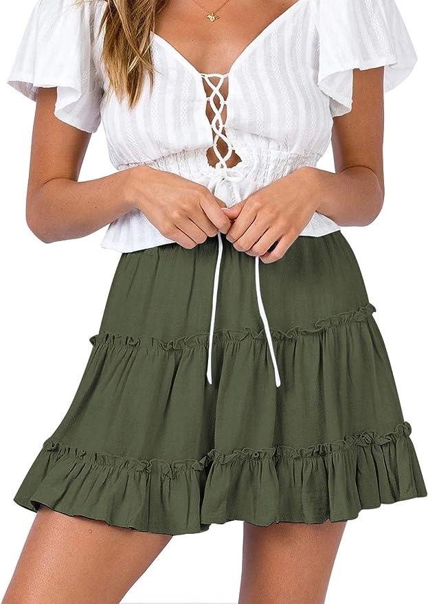 DRESSTELLS Womens Mini Skirt Basic High Waist Pleated Solid Casual Skater School Stretchy Skirt