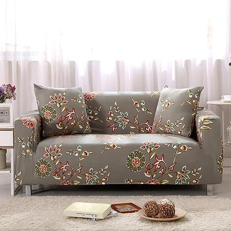 LINGJUN - Funda elástica para sofá de 1/2/3/4 de Pulgada, diseño Floral, Gris Claro, 3 Seater