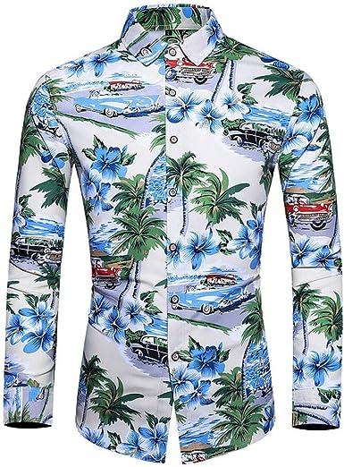Hombre Camisa Casual Hawaiana de Manga Larga Impresa Solapa Camisa Abotonada Estampado para Hombre Top Moda Slim fit Blusa Funky Camisa Hawaiana Camisa de la Flor de la Playa: Amazon.es: Ropa y